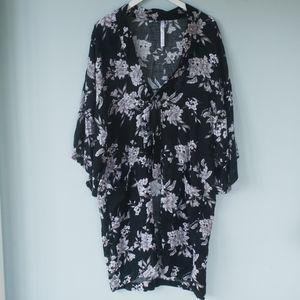 Spiritual Gangster Intimates & Sleepwear - Spiritual Gangster Maya Kimono Black Floral Robe